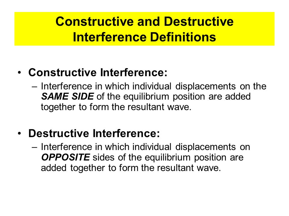 Constructive and Destructive Interference Definitions