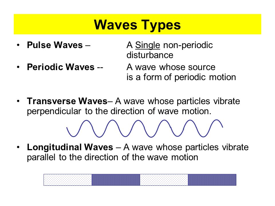 Waves Types Pulse Waves – A Single non-periodic disturbance