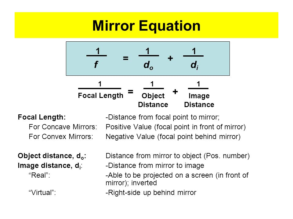 Mirror Equation f do di + = + = 1 1 Focal Length Object Distance