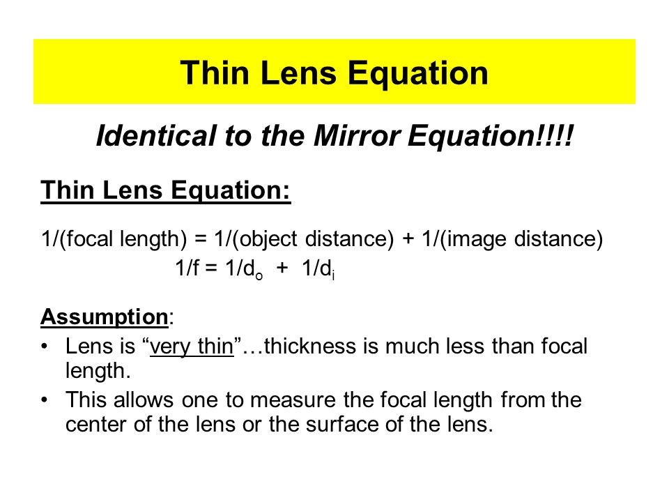 Identical to the Mirror Equation!!!!