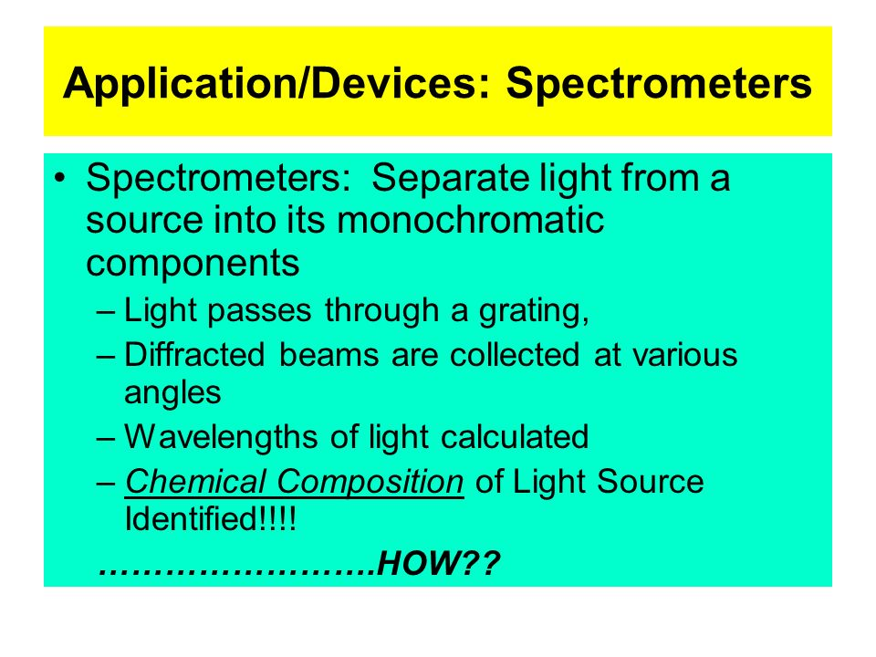 Application/Devices: Spectrometers