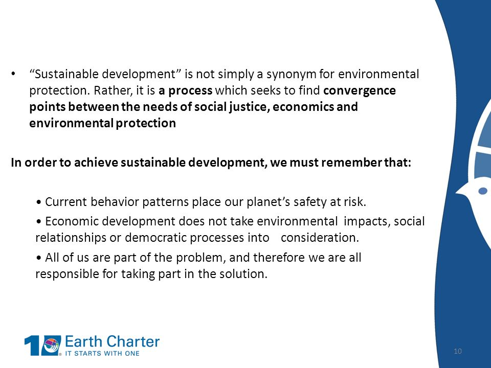 Sustainable Development And The Earth Charter Ppt Video Online