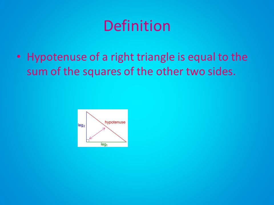 Definition Hypotenuse of a right triangle is equal to the sum of the squares of the other two sides.
