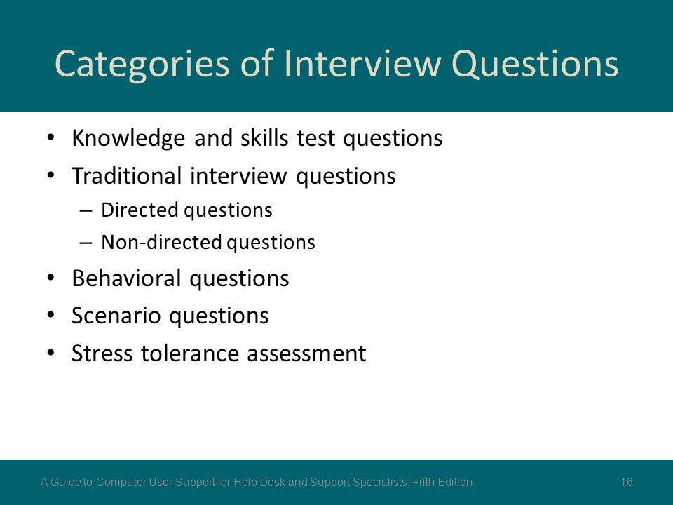 Categories Of Interview Questions
