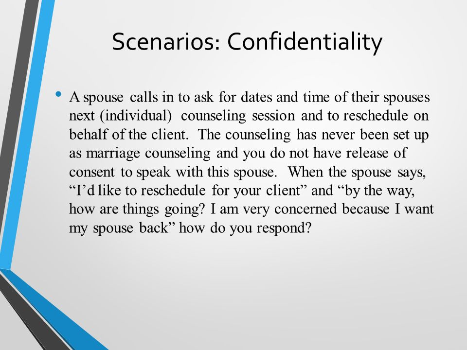how to talk about confidentiality to a client counselling