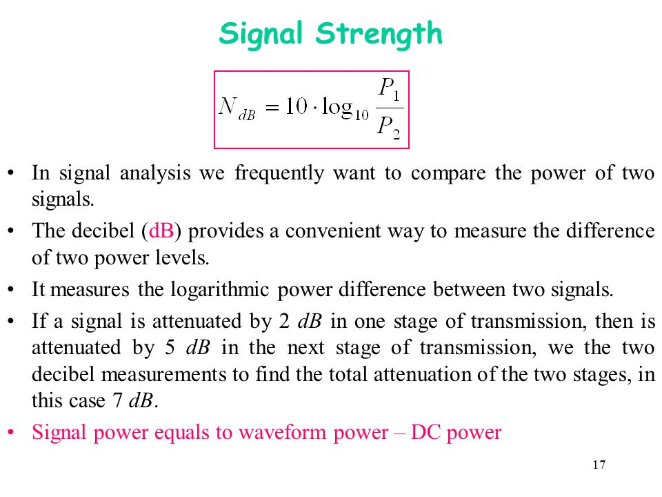 Signal Strength In signal analysis we frequently want to compare the power of two signals.