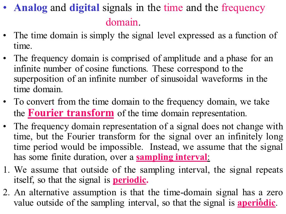 Analog and digital signals in the time and the frequency domain.