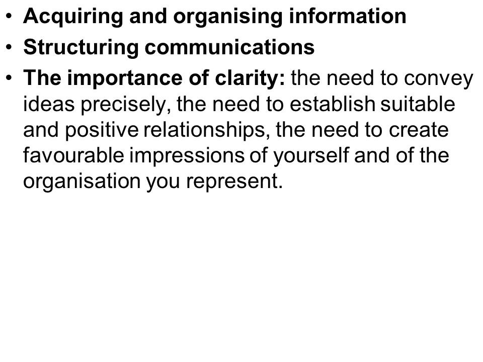 Acquiring and organising information