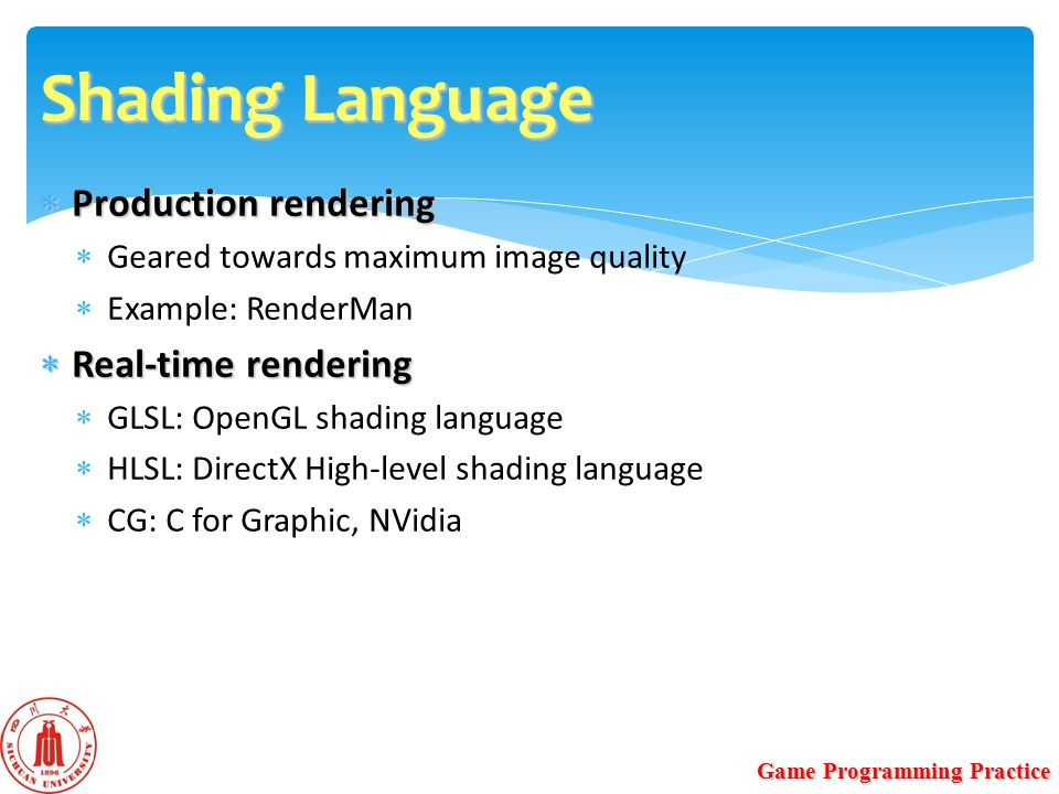 GPU Programming Yanci Zhang Game Programming Practice  - ppt