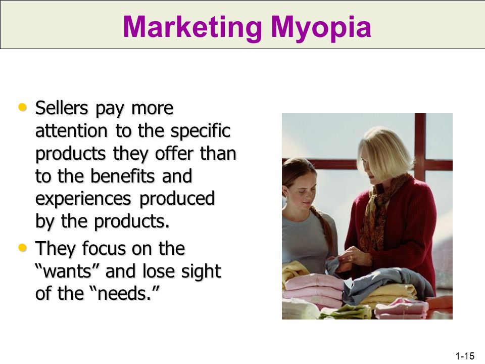 Chapter 1 Marketing Myopia.