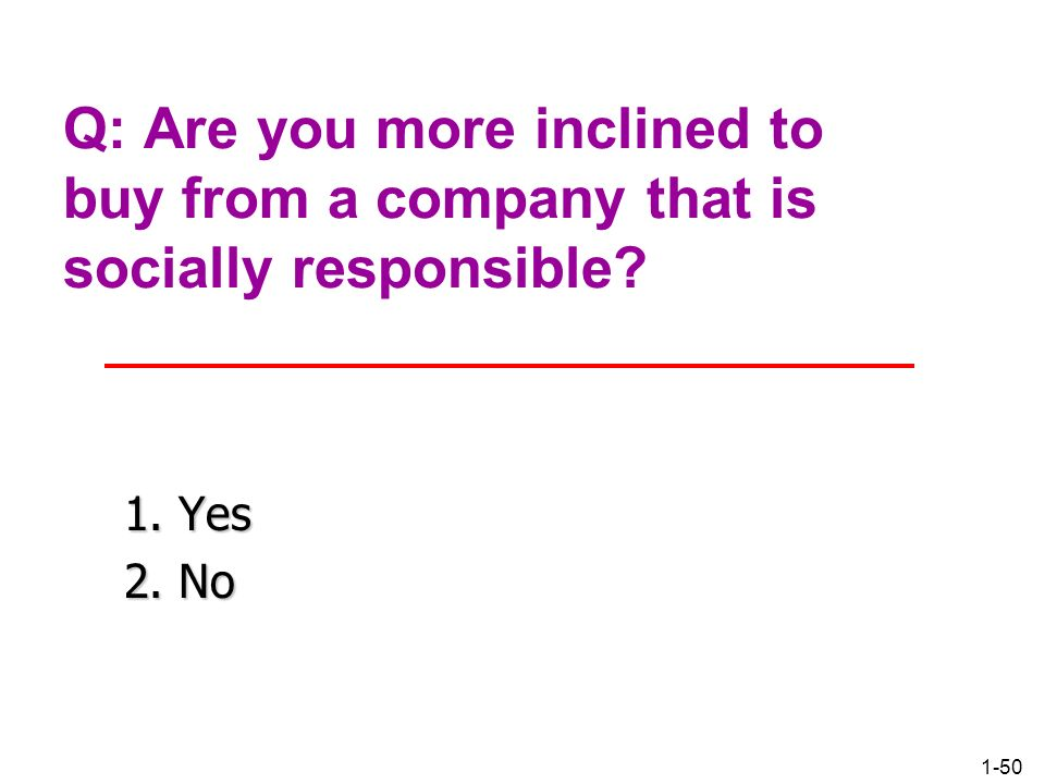 Q: Are you more inclined to buy from a company that is socially responsible