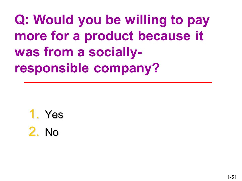 Q: Would you be willing to pay more for a product because it was from a socially-responsible company