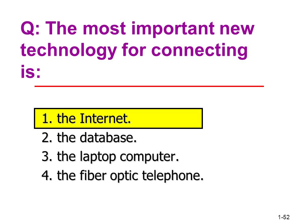 Q: The most important new technology for connecting is: