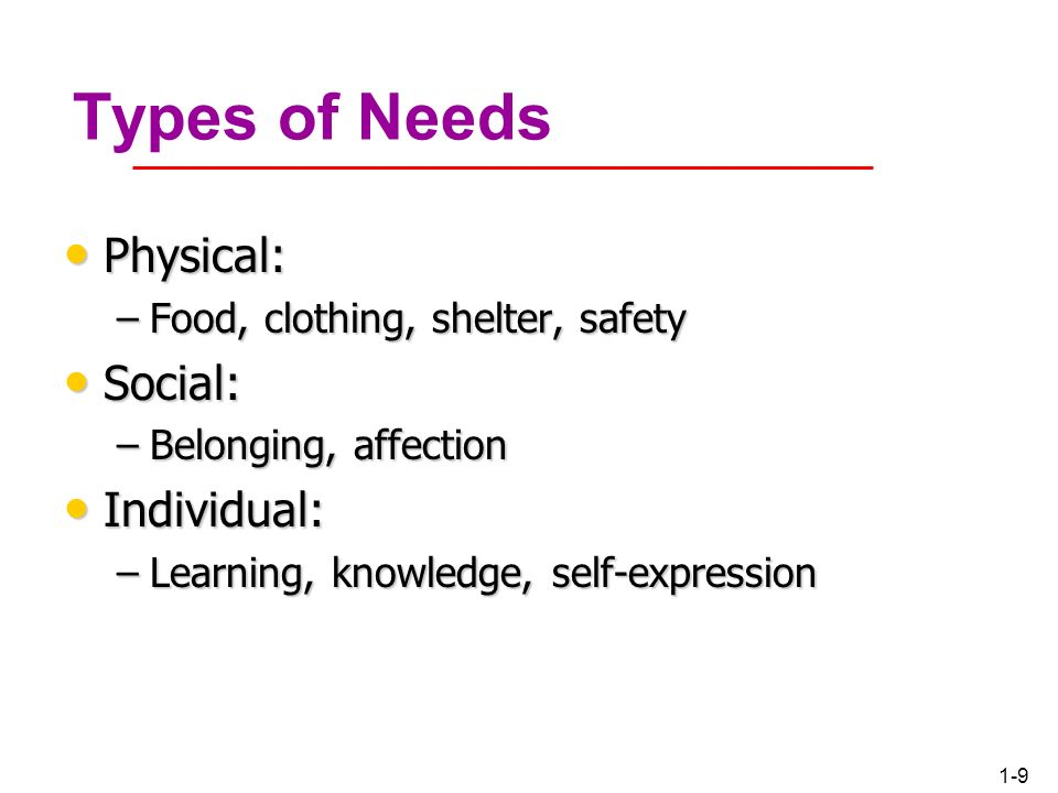 Types of Needs Physical: Social: Individual: