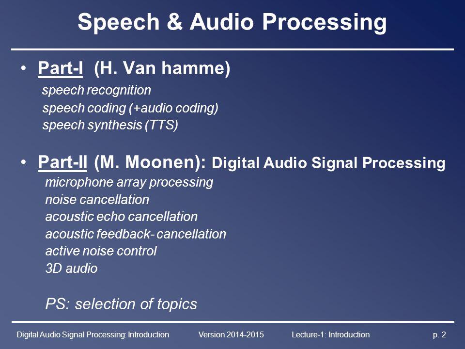 Speech & Audio Processing - Part–II Digital Audio Signal