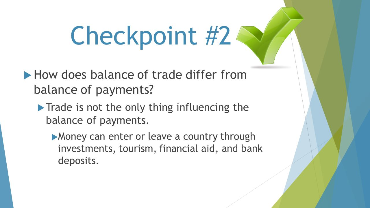 Checkpoint #2 How does balance of trade differ from balance of payments Trade is not the only thing influencing the balance of payments.