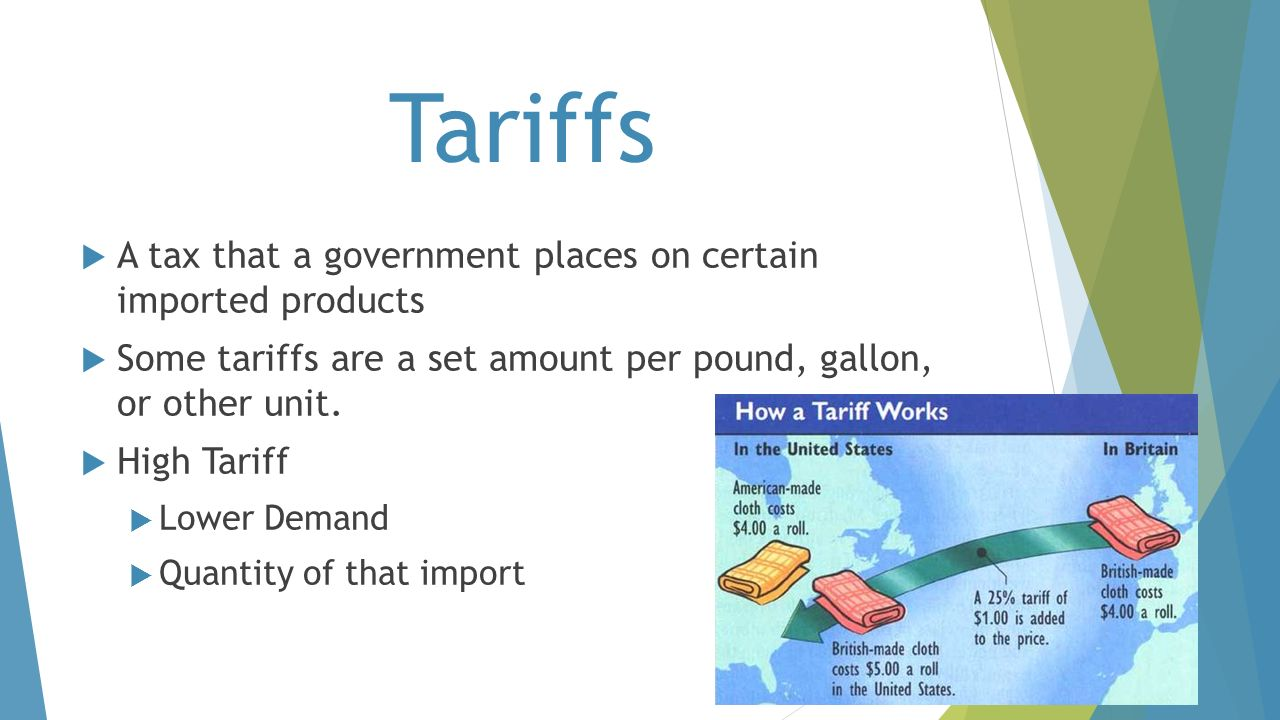 Tariffs A tax that a government places on certain imported products