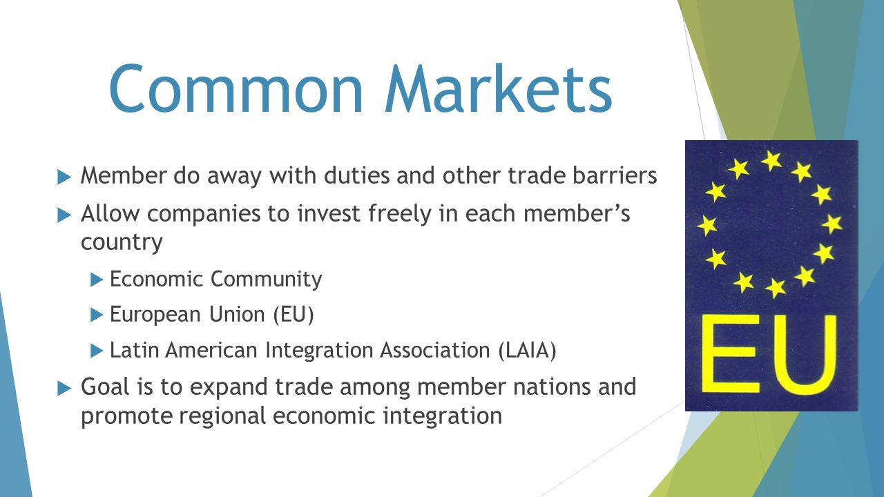 Common Markets Member do away with duties and other trade barriers