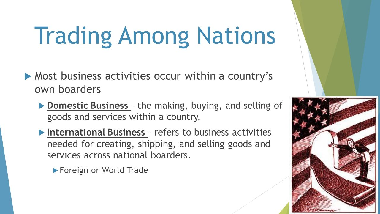 Trading Among Nations Most business activities occur within a country's own boarders.