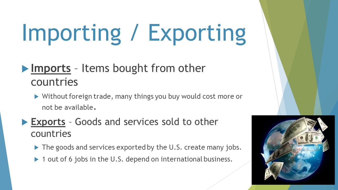 Importing / Exporting Imports – Items bought from other countries