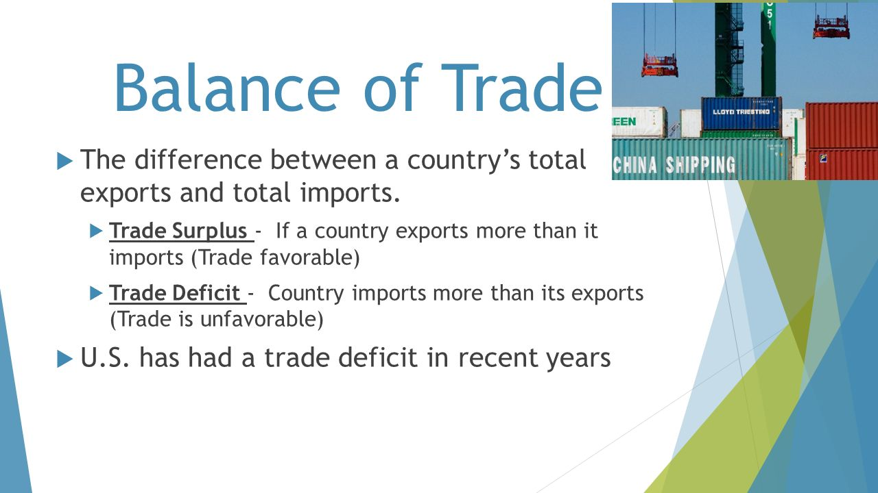 Balance of Trade The difference between a country's total exports and total imports.