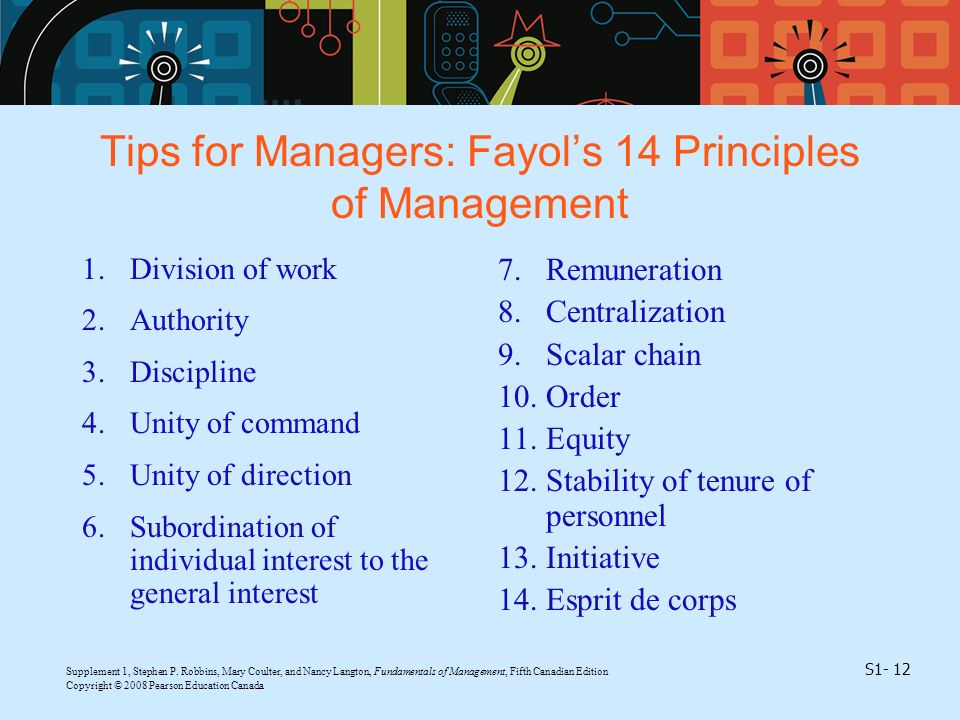 Tips for Managers: Fayol's 14 Principles of Management