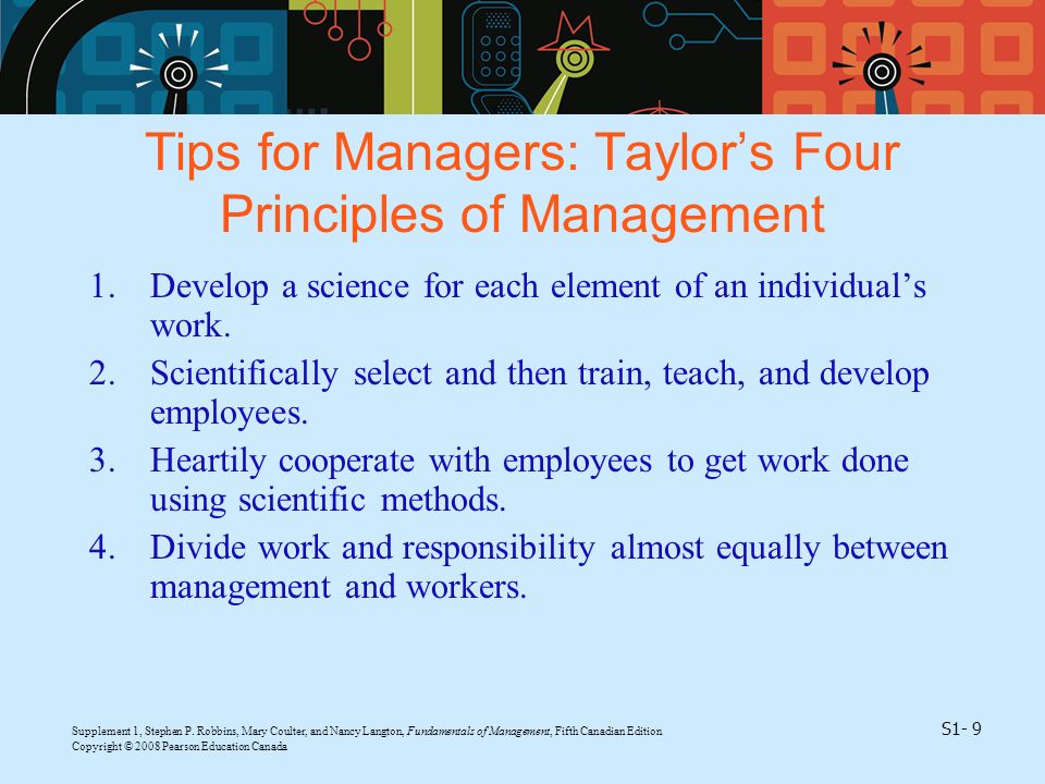 Tips for Managers: Taylor's Four Principles of Management