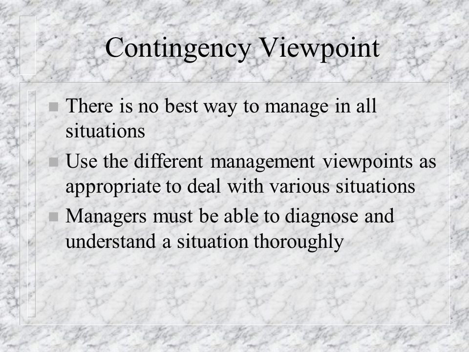 Contingency Viewpoint