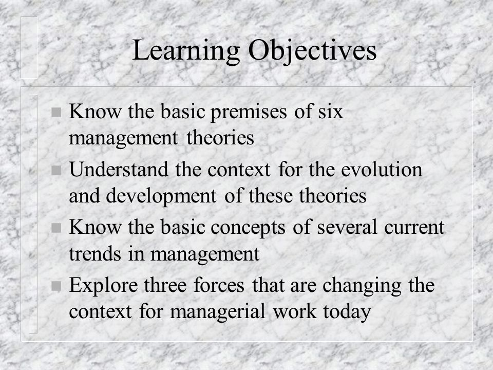 Learning Objectives Know the basic premises of six management theories
