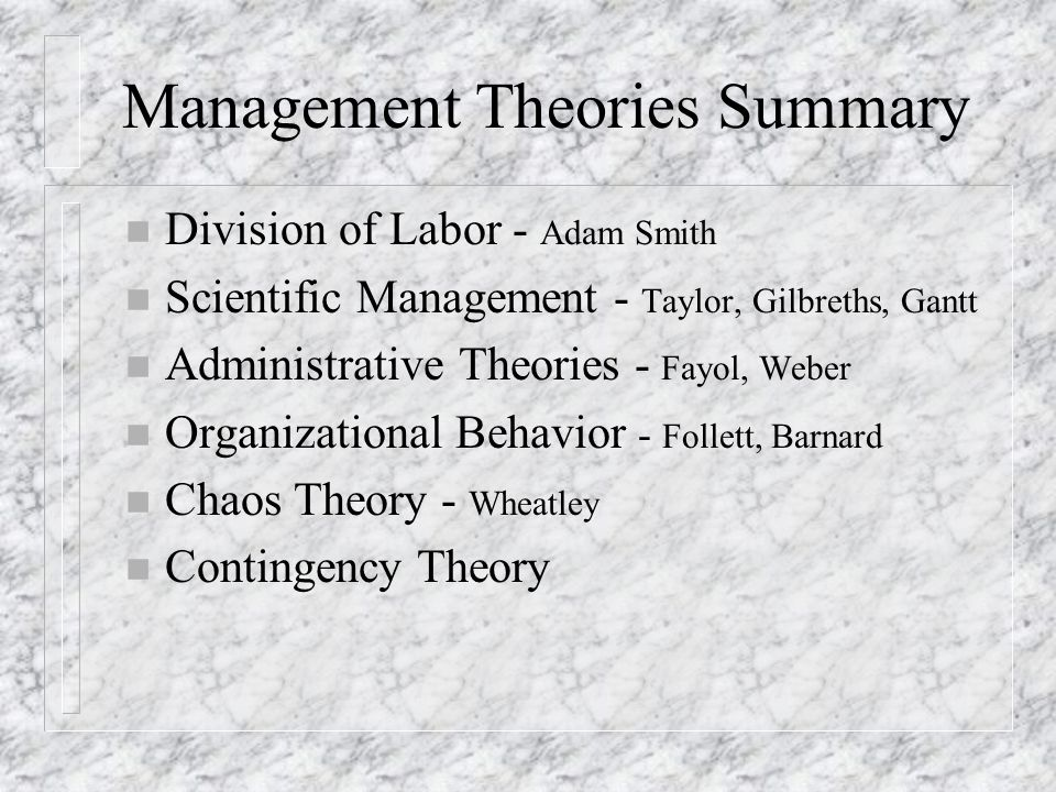 Management Theories Summary