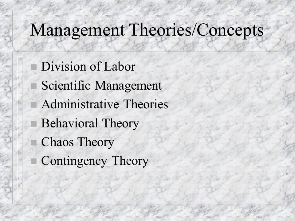 Management Theories/Concepts