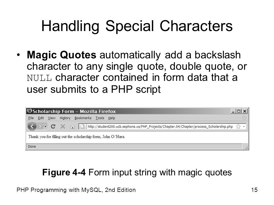 Handling Special Characters