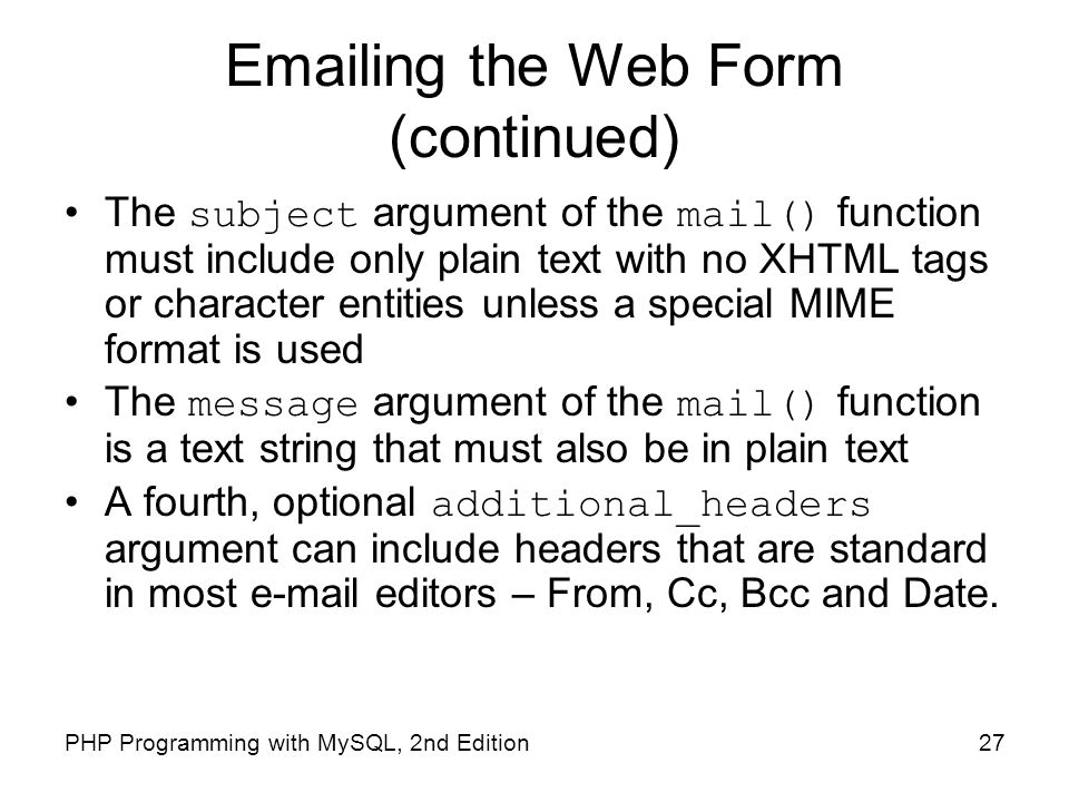 ing the Web Form (continued)