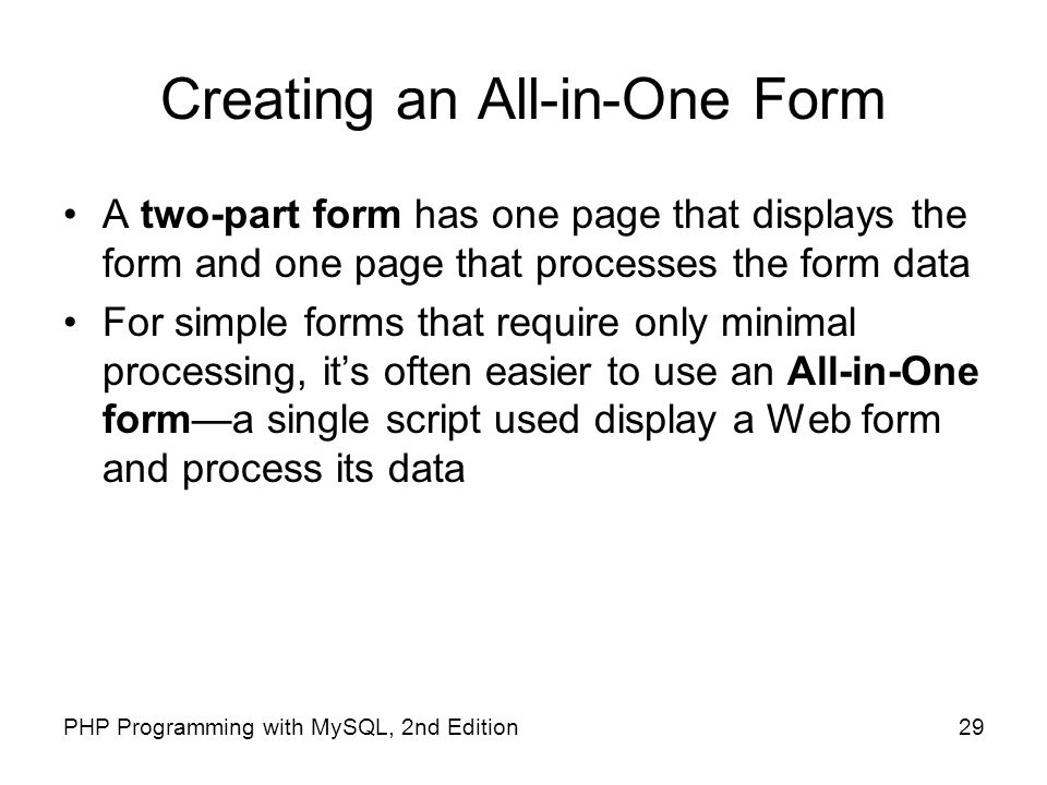 Creating an All-in-One Form