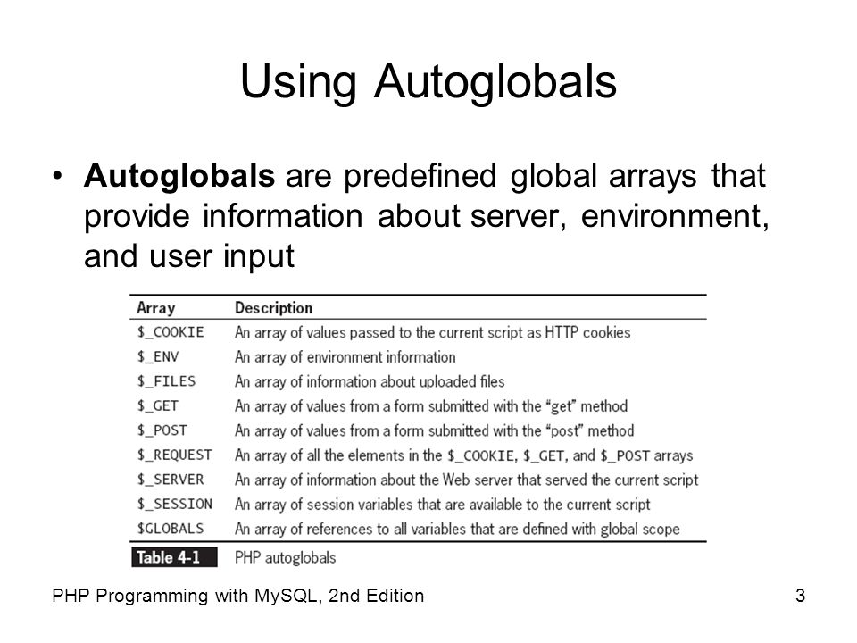 Using Autoglobals Autoglobals are predefined global arrays that provide information about server, environment, and user input.