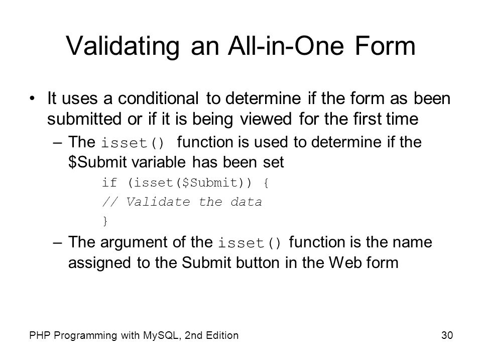Validating an All-in-One Form