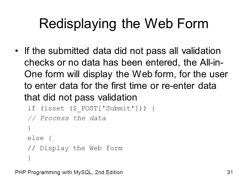 Redisplaying the Web Form
