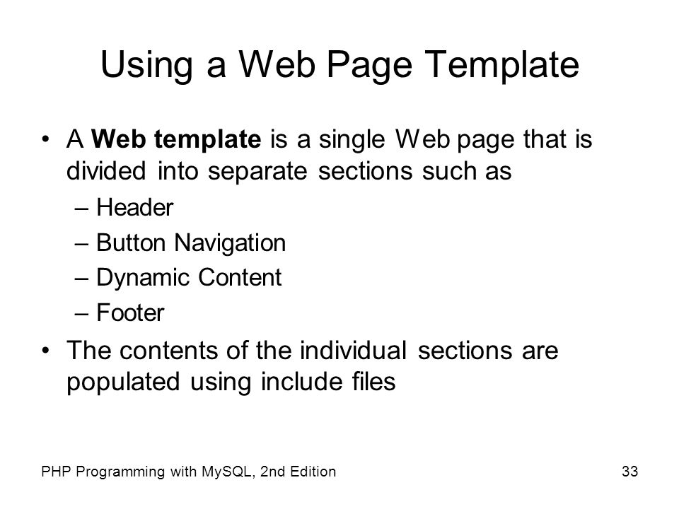 Using a Web Page Template