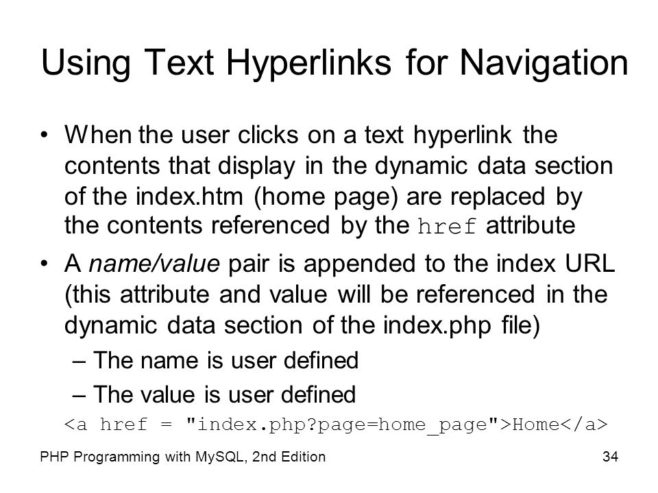 Using Text Hyperlinks for Navigation