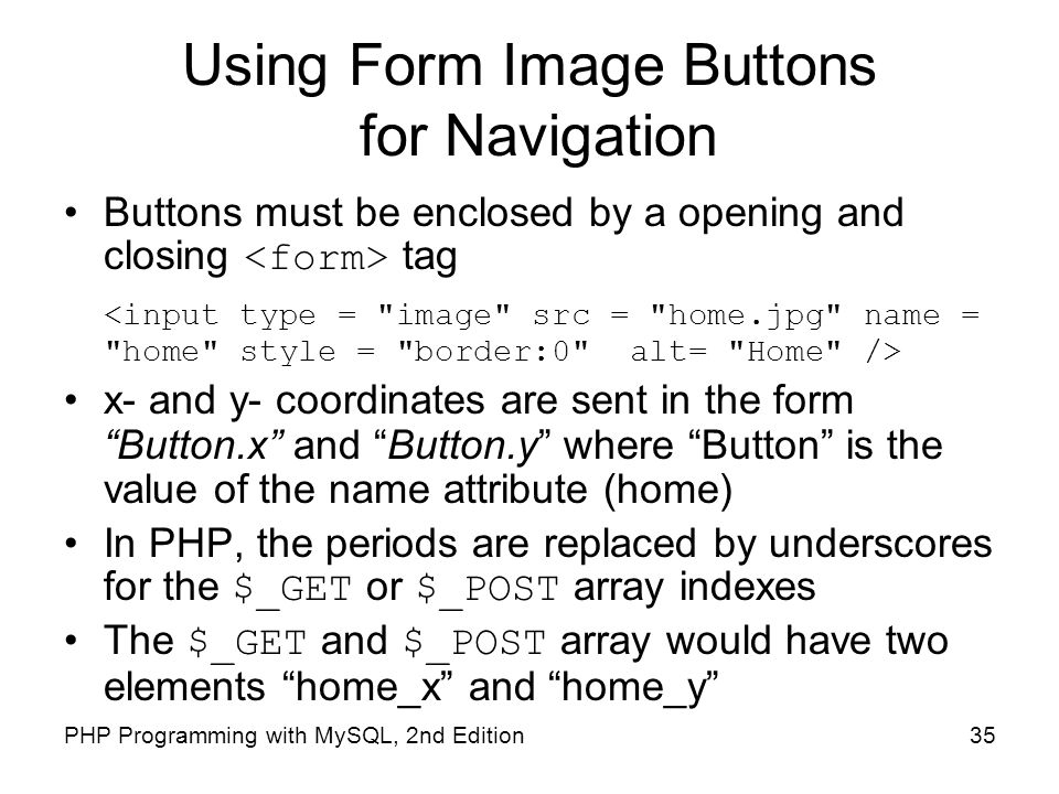 Using Form Image Buttons for Navigation