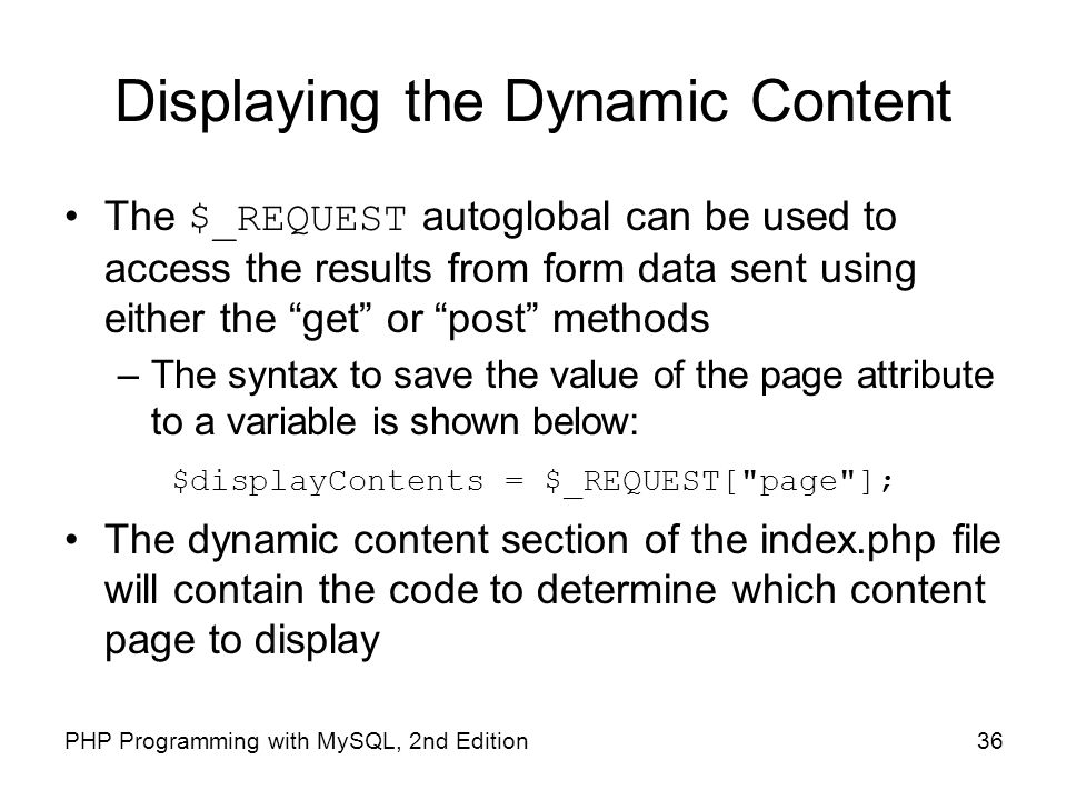 Displaying the Dynamic Content