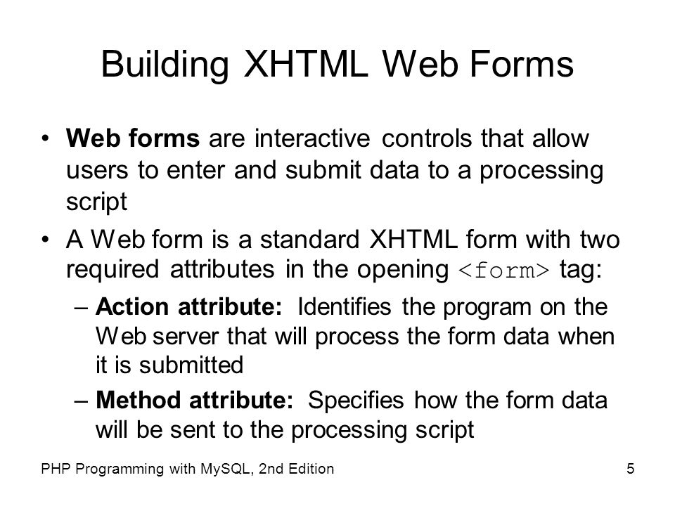 Building XHTML Web Forms