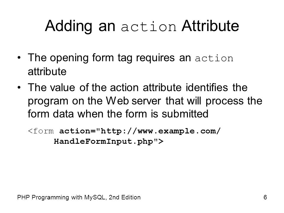Adding an action Attribute