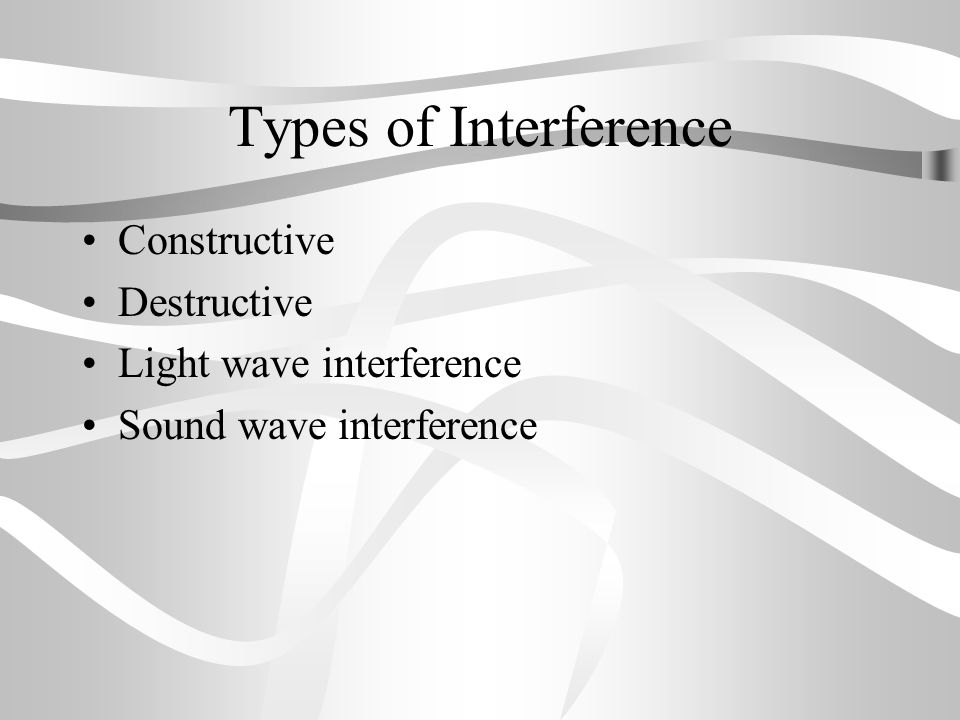 Types of Interference Constructive Destructive Light wave interference