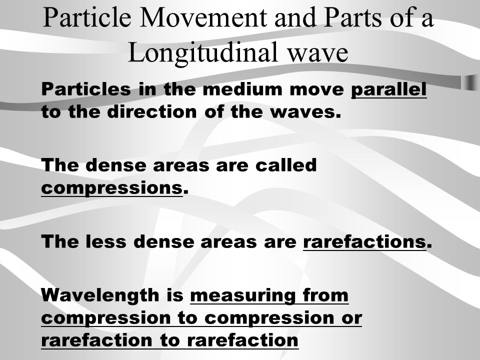 Particle Movement and Parts of a Longitudinal wave