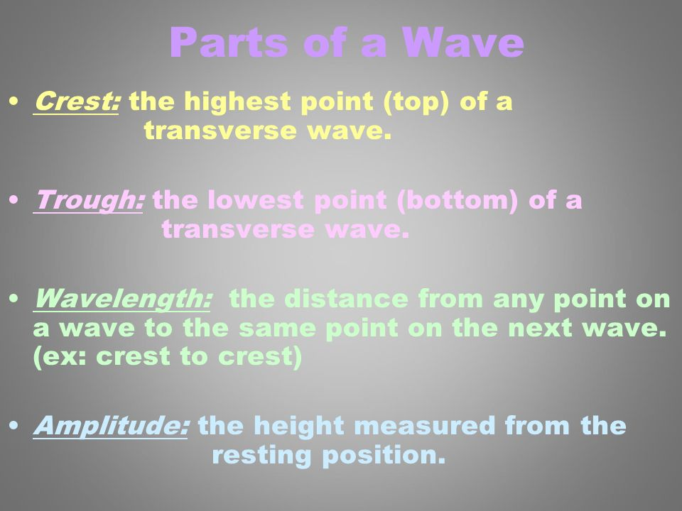 Parts of a Wave Crest: the highest point (top) of a transverse wave.