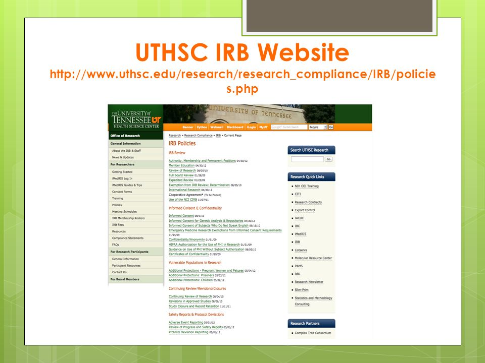 UTHSC IRB Website   uthsc