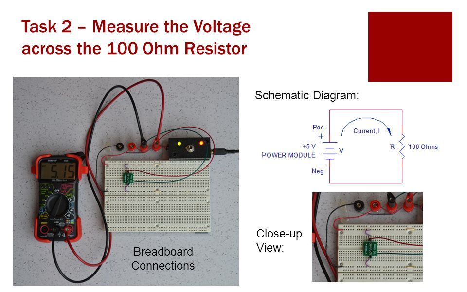 Task 2 – Measure the Voltage across the 100 Ohm Resistor