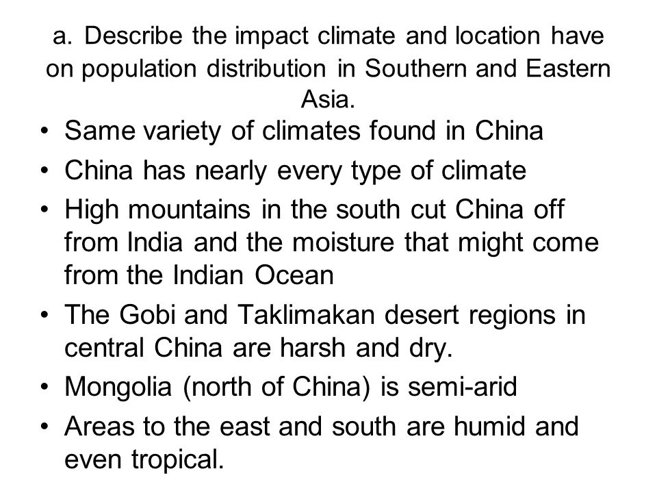 Same variety of climates found in China