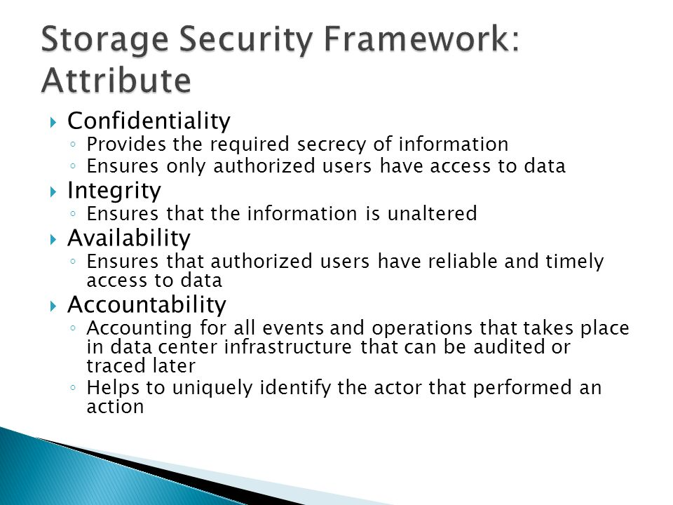 Storage Security and Management: Security Framework - ppt